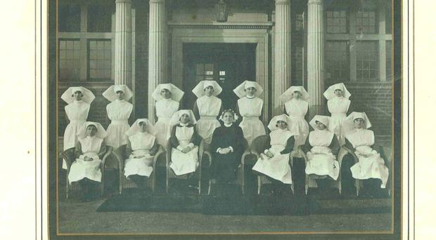 A 1927 photograph showing Matron Ashworth, with Assistant Matron Harding and Sisters, outside the Nursing Home at Hallam Hospital in 1927, which is now the Trust Headquarters at Sandwell Hospital. (Credit: Sandwell and West Birmingham Hospitals NHS Trust/PA)