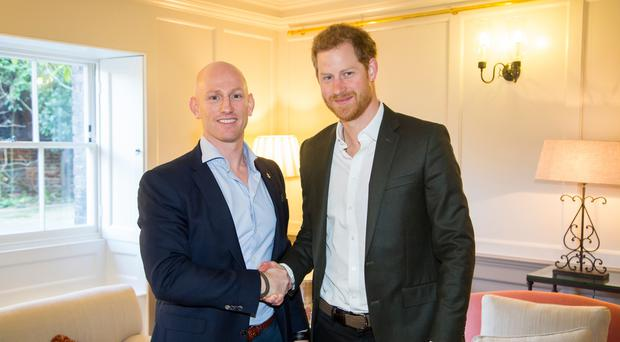 Dean Stott with Prince Harry before he bean his epic cycle ride (Heads Together/PA)