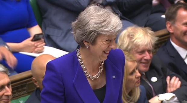 Prime Minister Theresa May during PMQs (PA)