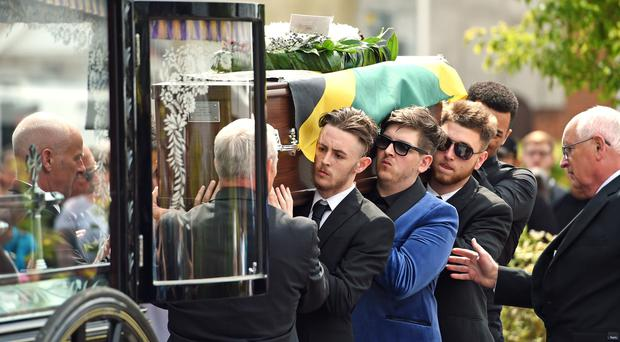 The funeral cortege of stabbing victim Tavis Spencer-Aitkens arrives at St Augustine's Church (Joe Giddens/PA)