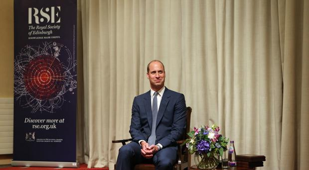 The Duke of Cambridge attends the presentation of royal medals at the Royal Society of Edinburgh (Jane Barlow/PA)