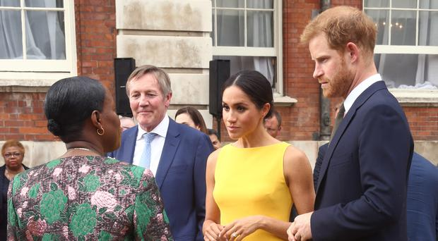 The Duke and Duchess of Sussex during the Your Commonwealth Youth Challenge reception at Marlborough House (Yui Mok/PA)