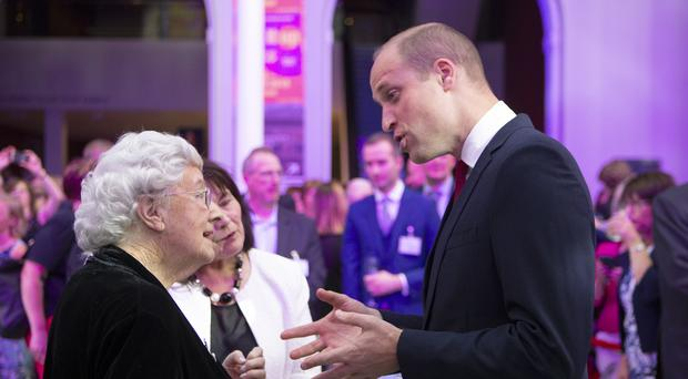 The Duke of Cambridge meets Catherine Reid during a reception (Jane Barlow/PA)