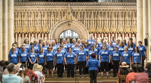 Hull and East Yorkshire Hospitals NHS Staff Choir during a rehearsal ahead of an event to mark 70th anniversary of the NHS at York Minster (Danny Lawson/PA)