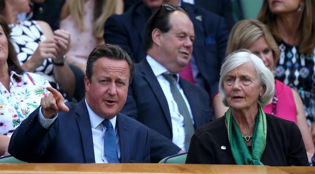 David Cameron and his mother Mary in the royal box on Centre Court at Wimbledon (Steve Paston/PA)