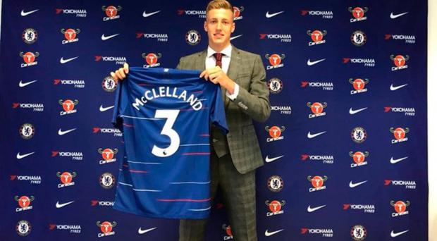 Former Limavady Grammar School pupil Sam McClelland with his new Chelsea shirt