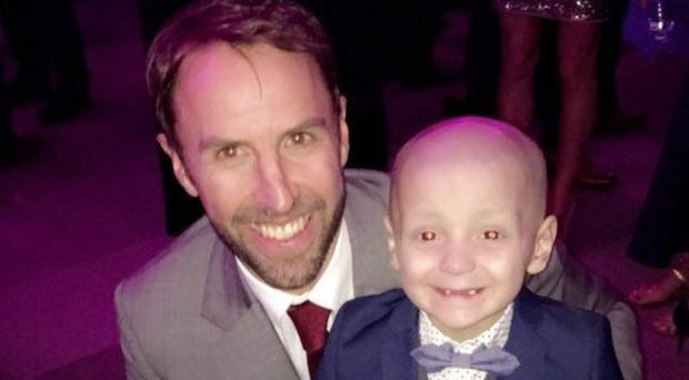 Gemma Lowery shared a picture of her son with Gareth Southgate (Bradley Lowery Foundation/PA)