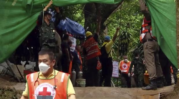 Four boys have been transported by ambulance to hospital (Chiang Rai Public Relations Office via AP)