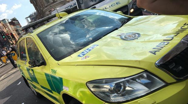 An emergency response vehicle was damaged on Borough High Street, London, during celebrations after England qualified for the semi-final of the World Cup (London Ambulance Service/PA)