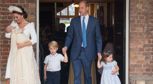 The Duke and Duchess of Cambridge with their children Prince George, Princess Charlotte and Prince Louis after Prince Louis's christening at the Chapel Royal (Dominic Lipinski/PA)