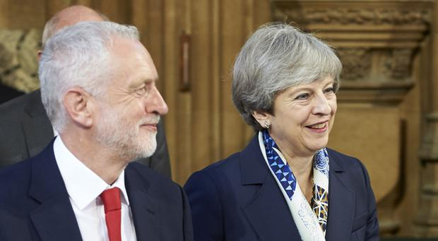 Theresa May warned backbenchers that Jeremy Corbyn would benefit from Tory divisions (Niklas Halle'n/PA)