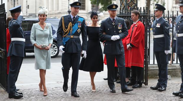 The Duke and Duchess of Cambridge and the Duke and Duchess of Sussex arrive (Steve Parsons/PA)