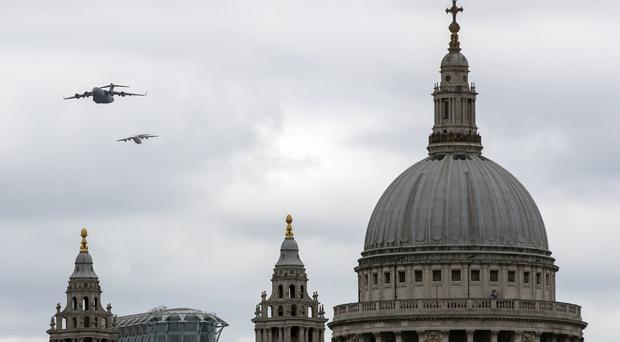 RAF aircraft pass St Paul's Cathedral (Steve PArsons/PA)