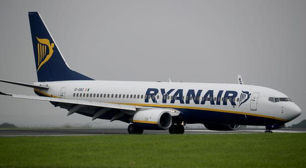 A Ryanair plane at Dublin Airport. (Peter Byrne/PA)