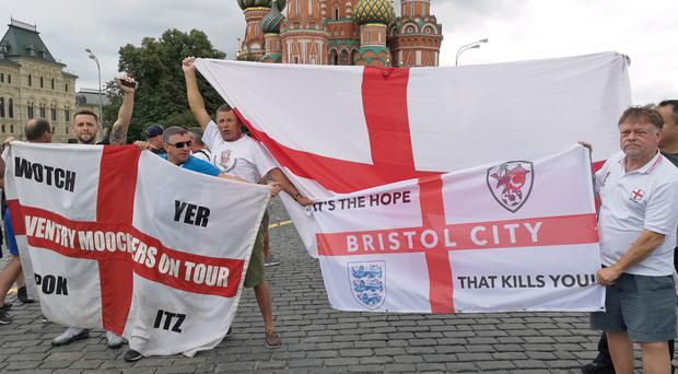 England fan Peter Wood, (right) in Red Square, Moscow (Scott D'Arcy/PA)
