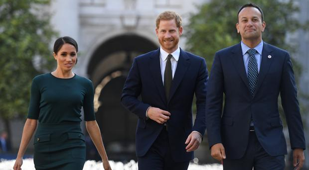 The Duke and Duchess of Sussex with Taoiseach, Leo Varadkar (Clodagh Kilcoyne/PA)