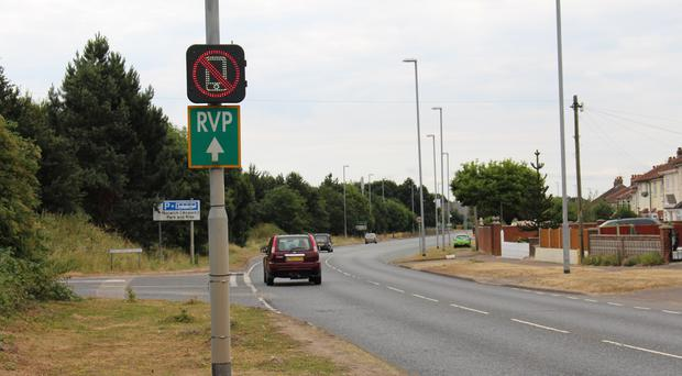 Mobile phone detection sign (Norfolk County Council)