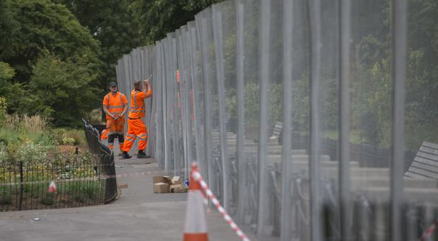 Security preparations near the US Ambassador's residence Winfield House, in Regent's Park, London (David Mirzoeff/PA)