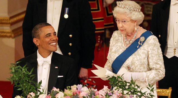 The Queen and US president Barack Obama during a state banquet (Lewis Whyld/PA)