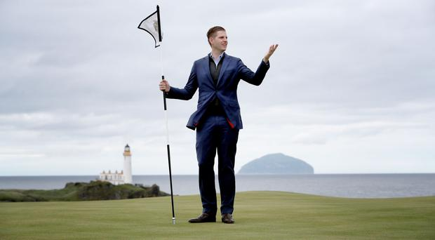 Eric Trump, son of US President Donald Trump, during the opening of the new golf course at Trump Turnberry (Jane Barlow/PA)