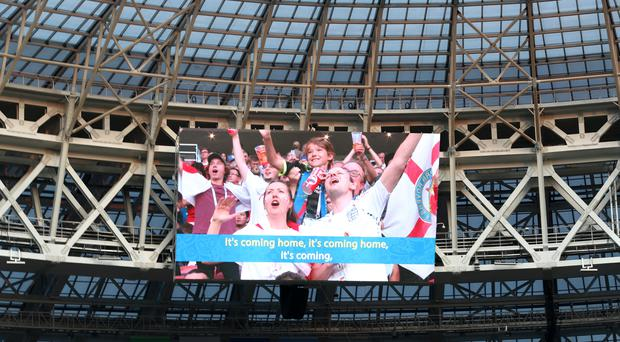 England fans show on screen at Luzhniki Stadium, Moscow (Tim Goode/PA)