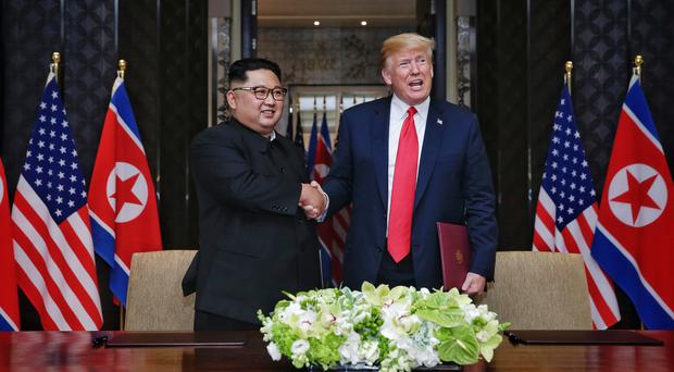 Donald Trump and Kim Jong-un met for historic talks in Singapore in June (Kevin Lim/The Straits Times/PA)