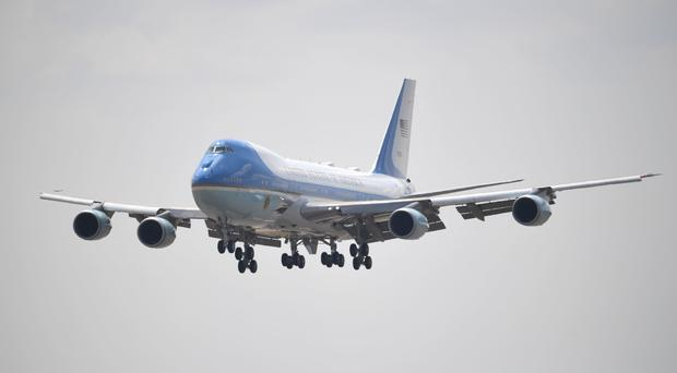 Donald Trump's Air Force One flies into Stansted Airport (Joe Giddens/PA)