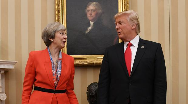 Prime Minister Theresa May meeting US President Donald Trump (Stefan Rosseau/PA)