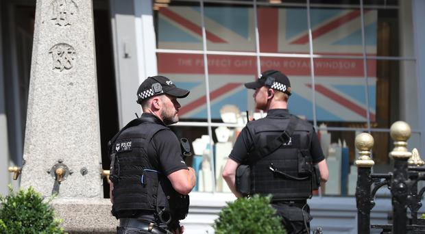 Armed police in Windsor ahead of US president Donald Trump's visit (Steve Parsons/PA)
