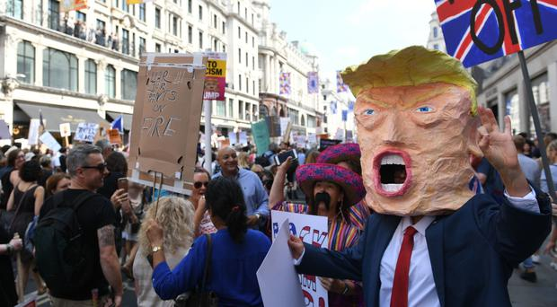 Demonstrators on an anti-Donald Trump march through London (Joe Giddens/PA)