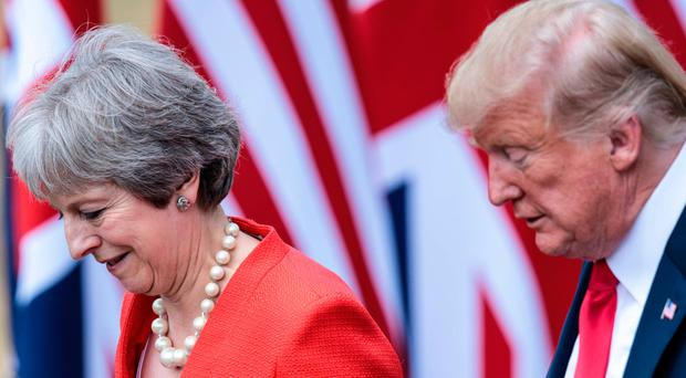 President Trump and Prime Minister Theresa May during a joint Press conference at Chequers
