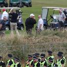 The police presence protecting the president was strong at Turnberry (Andrew Milligan/PA)