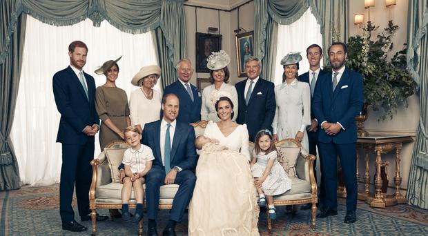 The Duke and Duchess of Cambridge have released this official photograph to mark the christening of Prince Louis on Monday 9th July. The photographs were taken by Matt Holyoak in the Morning Room at Clarence House, following Prince Louis' baptism in the Chapel Royal at St. James�s Palace. The photographs are being supplied to you on the condition you agree that: the photographs remain the copyright of Matt Holyoak/Camera Press; they must be credited to Matt Holyoak/Camera Press each time the image is used; only the low-res version with embedded copyright can be used online. No use after July 29. No sales and for news usage only in connection with Prince Louis� christening. No merchandising, print sales, commercial use, press calendars or souvenir issues permitted. Any magazine/supplement cover usage requires approval via Camera Press and Kensington Palace. No cropping, manipulating or altering the photograph in any way. No use and no archiving permitted after July 29th 2018. Seated (left to right): Prince George, the Duke of Cambridge, Prince Louis, the Duchess of Cambridge, Princess Charlotte. Standing (left to right): The Duke of Sussex, the Duchess of Sussex, the Duchess of Cornwall, the Prince of Wales, Mrs Carole Middleton, Mr Michael Middleton, Mrs Pippa Matthews, Mr James Matthews, Mr James Middleton. PRESS ASSOCIATION. Issue date: Sunday July 15, 2018. See PA story ROYAL Chistening. Mandatory credit must read: Matt Holyoak/Camera Press NOTE TO EDITORS: This handout photo may only be used in for editorial reporting purposes for the contemporaneous illustration of events, things or the people in the image or facts mentioned in the caption. Reuse of the picture may require further permission from the copyright holder.