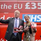 Former London mayor Boris Johnson with the Vote Leave campaign bus (Stefan Rousseau/PA)