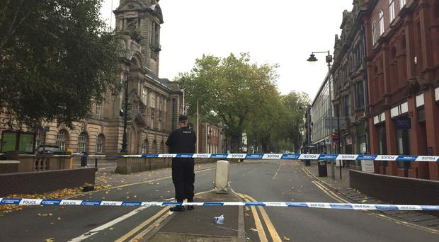 The scene outside Walsall Town Hall after Reagan Asbury was fatally stabbed (Richard Vernalls/PA)