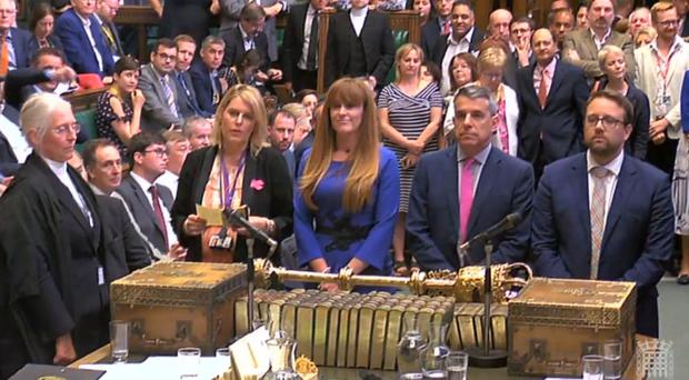 MPs in the House of Commons read out the results of the vote where MPs have defeated a Tory backbench Trade Bill (PA)