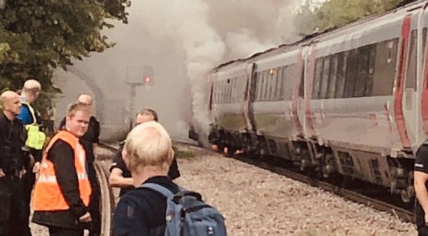A CrossCountry train which caught fire between Derby and Chesterfield. (Matt Navarra)