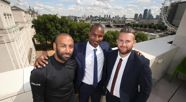 British Transport Police officers PC Leon McLeod and PC Wayne Marques, and Metropolitan Police officer PC Charles Guenigault (Yui Mok/PA)