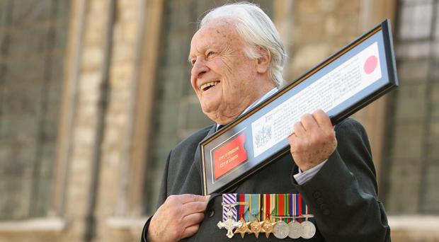 Geoffrey Wellum DFC, the youngest Spitfire pilot to fight in the Battle of Britain (Dominic Lipinski/PA)