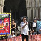 Green Party co-leader Jonathan Bartley addresses environmental campaigners ahead of Plan B Earth's High Court challenge (Sian Harrison/PA)