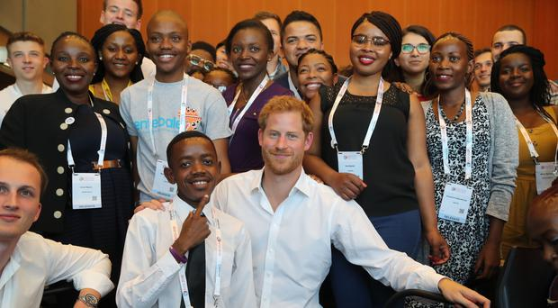 The Duke of Sussex meets young delegates from his charity Sentebale (Gareth Fuller/PA)