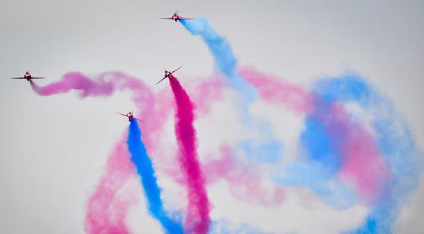 The Red Arrows perform at the 2018 Royal International Air Tattoo (Ben Birchall/PA)