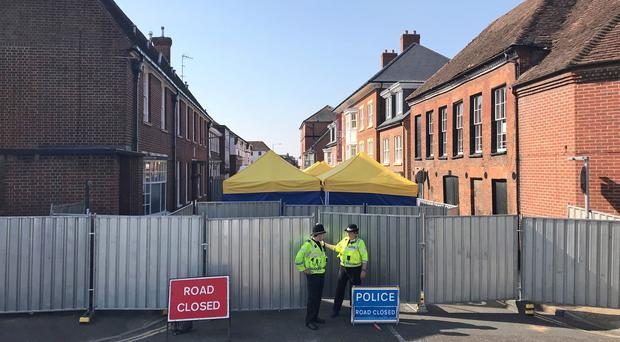 Forensic tents outside John Baker House on Rolleston Street, Salisbury (Sam Blewett/PA)