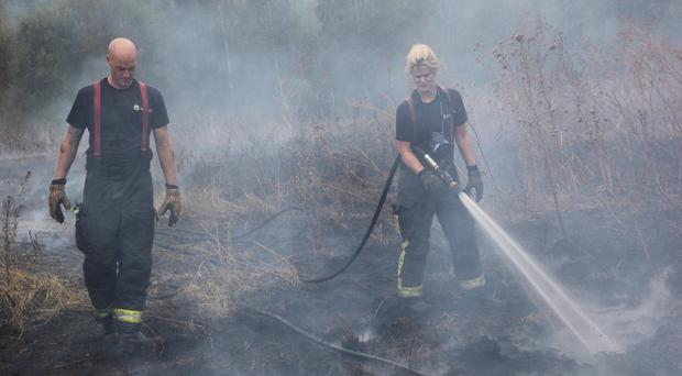 South Yorkshire fire crews tackle a grass fire at Cadeby Woods, Stainforth (South Yorkshire Fire and Rescue/PA)