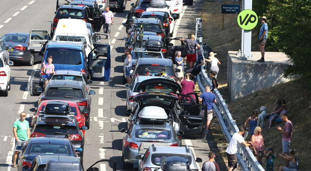 Queues for the Eurotunnel in Folkestone, Kent, stretch back towards the M20 motorway (Gareth Fuller/PA)