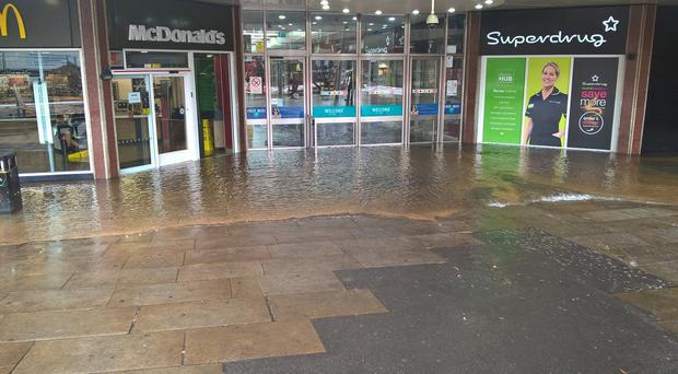 Flooding from a burst water main that caused the closure of the Stratford Centre (London Fire Brigade/PA)