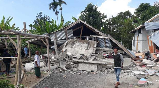 Homes in Sajang village, Sembalun, east Lombok, Indonesia, destroyed by the earthquake (Rosidin/AP)