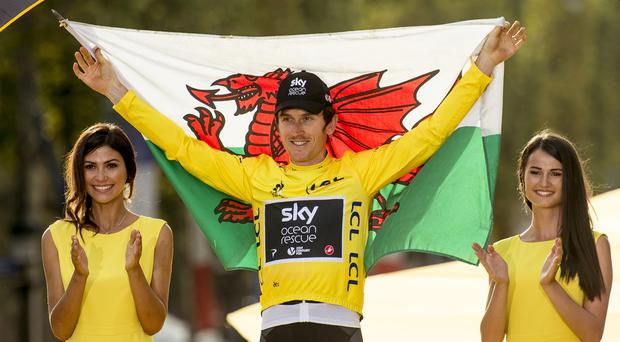 Team Sky's Geraint Thomas celebrates winning the Tour de France (Pete Goding/PA)