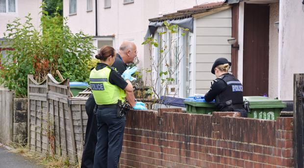 Police officers search the family home on Mansel Road East, Southampton, of Stephen Nicholson (Ben Mitchell/PA)