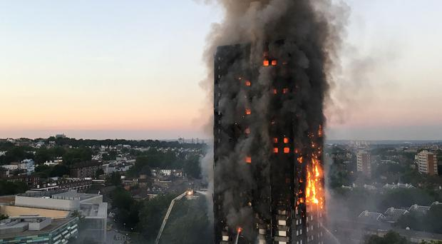 The fire at Grenfell Tower in west London (Natalie Oxford/PA)